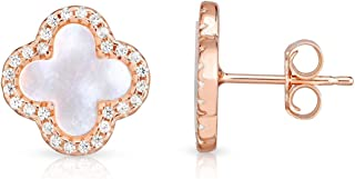 Sterling Silver Mother Of Pearl And Cubic Zirconia Four Leaf Clover Post Earrings.