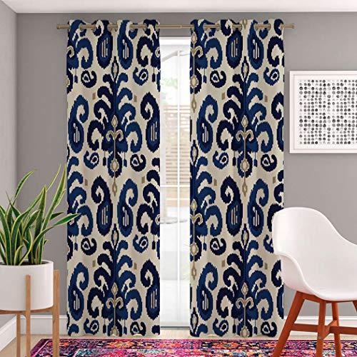 "Trikptey Vintage Paisley Curtains Ikat Paisley Traditional Oriental Ethnic Indigo Cobalt Blue Blackout Grommet Window Curtains for Bedroom Living Room Set of 2 Panels 2 Tiebacks Included 104""x96"""