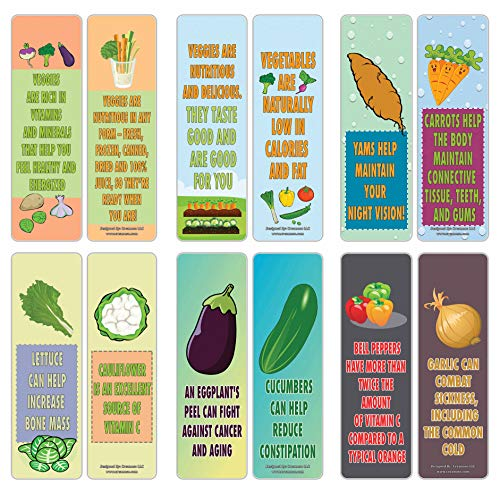 Creanoso Reasons to Eat Vegetables Educational Bookmark Cards (12-Pack) – Premium Gifts Bookmarkers – Stocking Stuffers for Kids, Boys, Girls, Teens – Office Supplies – DIY Kit – Home Schooling