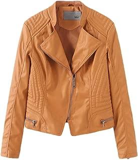 NXH® Women's PU Motorcycle Leather Jacket Lapel Collar High Waist Blazer Black S