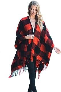 Buffalo Plaid Poncho Wrap Blanket Sweater