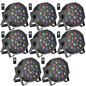 DJ Lights BSYUN RGB 18 LEDs Professional Sound Activated Stage Lights DMX-512 Controllable Uplighting for Wedding Party with Remote  8P