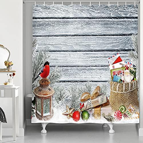 Old Wooden Board Merry Christmas Duschvorhang für Badezimmer, Laterne Bullfinke Tasche Buchstaben Süßigkeiten verschneites Neujahr Badvorhang, Xmas Dekoration Stoff Badewannenvorhang mit Haken