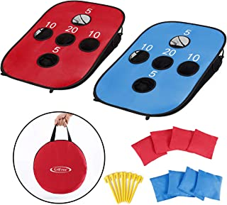 G4Free Portable Collapsible Cornhole Game Set with 8 Bean Bags Carrying Case Toss Game Size 3ft x 2ft for Camping Travel Outdoor