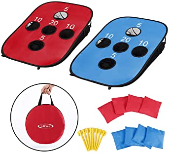 G4Free Portable Collapsible 5 Holes Cornhole Game Set with 8 Bean Bags Carrying Case Toss Game Size 3ft x 2ft for Cam...