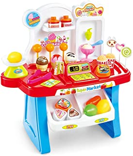Xyanzi 赤ちゃんのおもちゃ パズルキッチン子供のおもちゃのシミュレーションスーパーマーケットの男の子と女の子セールスデスクの食べ物セット (色 : 青)