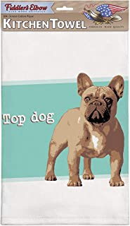 Fiddler's Elbow Top Dog French Bulldog Kitchen Towel, 100% Cotton Dog Themed Towel, Eco-Friendly Dish Towel with Hanging Loop, Frenchie Loviers