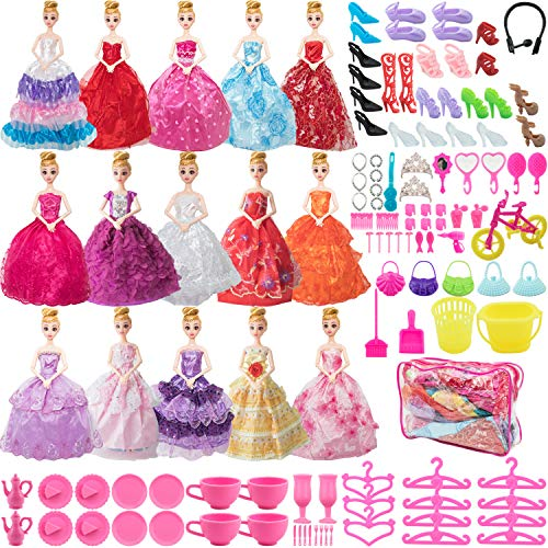 SOTOGO 121 Pieces Doll Clothes and Accessories for 11.5 Inch Girl Doll Different Occasions Include 15 Sets Handmade Doll Grown Outfits Fashion Party Dresses and 106 Pieces Different Doll Accessories