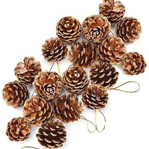 BETOY Pigne Natalizie Decorative, 18 Pezzi Pigne Natale Decorazioni Pigne per Decorazioni Natalizie per la Casa, per Albero di Natale e Decorazioni Natale, 3-4cm(Colore d'oro)