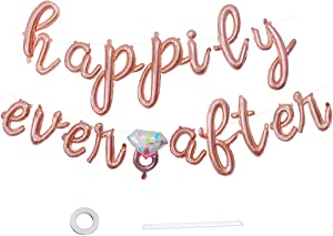 Happily Ever After Banner Engagement Sign Diamond Balloons Bridal Shower Wedding Bachelorette Party Decorations Rose Gold