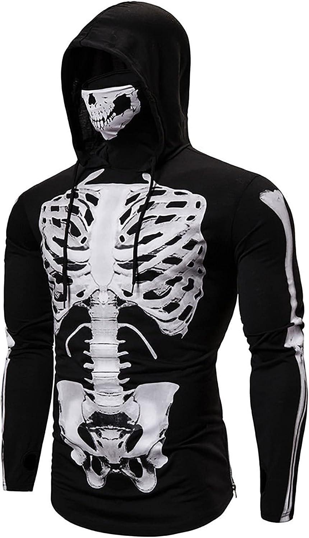 Bravetoshop 3D Printed Hooded Sweatshirt for Men, Men's Halloween Skeleton Graphic Long Sleeve Pullover Tops