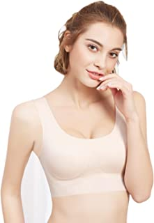 PRETTYWELL Sleep Bras, Thin Soft Comfy Daily Bras, Seamless Leisure Bras for Women, A to D Cup, with Removable Pads