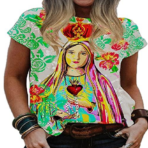 Camisetas Retro con Estampado de la Virgen María, Camisetas de Manga Corta con Cuello Redondo y Estampado de la Santísima Virgen María, Camiseta Nueva de Verano