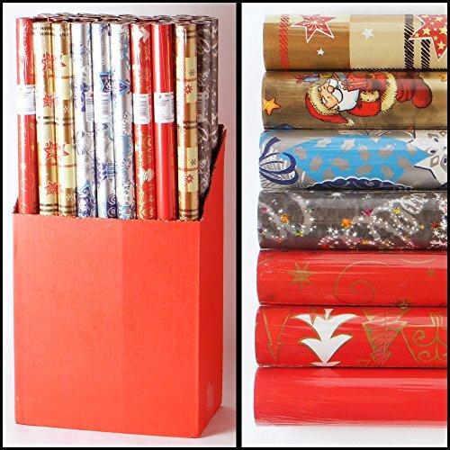 4er Set (4 Rollen) weihnachtliches Geschenkpapier extralang, je 500x70cm
