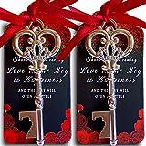 25 Silver Key Bottle Opener Wedding Favor with Tag, Thank You for Coming Cards, Vintage Skeleton Key Bottle Opener, Bridal Shower Party Favors Souvenir Wedding Favors for Guests(Red Ribbon)