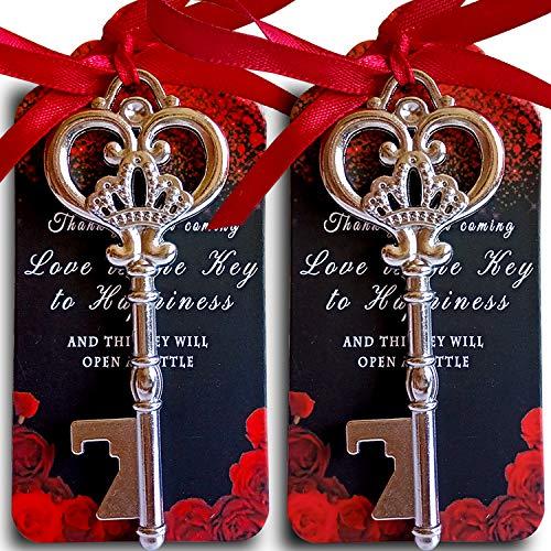 25 Silver Key Bottle Opener Wedding Favor with Tag, Thank You for Coming Escort Card Bulk, Vintage Skeleton Key Bottle Opener, Bridal Shower Party Favors Souvenir Wedding Favors for Guests(Red Ribbon)
