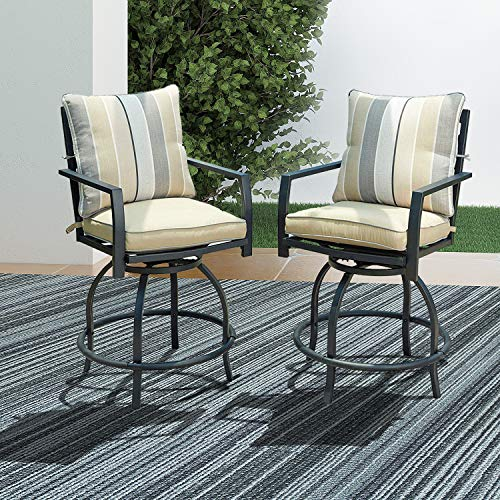 LOKATSE HOME Patio Stools Outdoor Swivel Bar Height Chairs Set of 2, 2, White Cushion