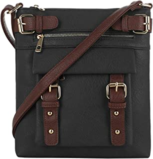 2 Toned Belt Concealed Carry Crossbody Bag with Lock and Key