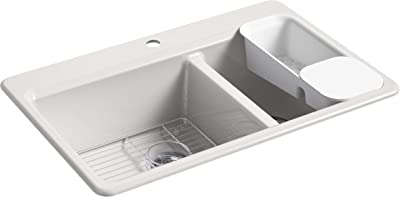 KOHLER 8669-1A2-FF Riverby Kitchen Sink, Sea Salt