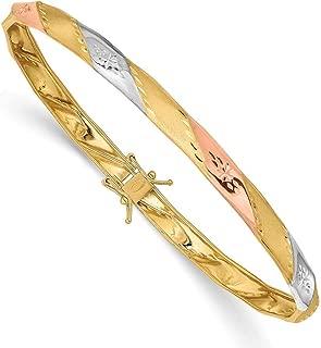 4.75mm 14k Yellow Gold With White and Rose Rhodium Polished Satin Sparkle-Cut Flex Bangle Bracelet