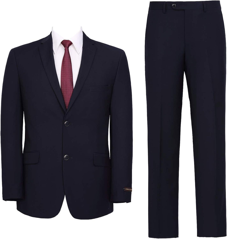 QSYJ Men's Premium Slim Fit 2-Piece Suit Jacket Blazer Tux & Flat Pants Set