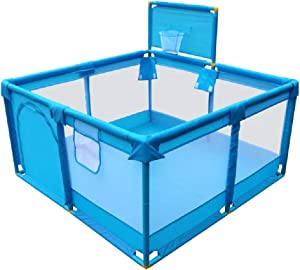 Playpen YXX- Indoor Play Yard for Baby Girls Boys  Portable Safety Kids for Infants and Toddlers  Basketball Hoop Included  Blue  Size 128 128 66cm