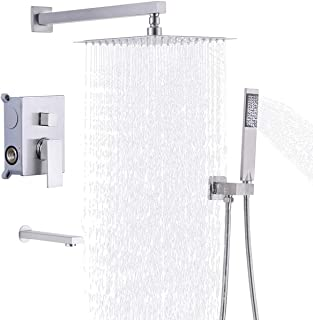 KES Pressure Balancing Shower System Trim Kit Shower Valve with Tub Faucet Spout Set Handheld and 10 Inch Rainfall Shower Head Combo All Metal Brushed Nickel, XB6300-BN