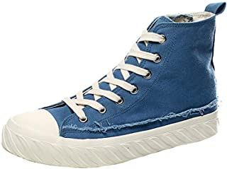 XinQuan Wang Casual Sneakers for Men Walking Ankle Shoes Lace up Side Zipper Canvas Shoes Antislip Outsole High Top (Color : Blue, Size : 8.5 UK)