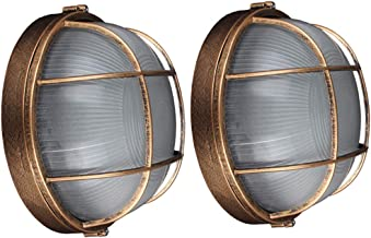 Set van 2 retro wandlampen, waterdichte plafondlamp, aluminium scheepsverlichting, roosterlamp, outdoor, vochtbestendig, e...