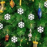 LEZED Holz Schneeflocken Anhänger für Weihnachten 100 STK Holz Schneeflocke Fensterdeko Mini Streuteile Schneeflocken Ausgehöhlten Schneeflocken Verzierungen für Winterliche Weihnachts Tischdeko 35mm - 7
