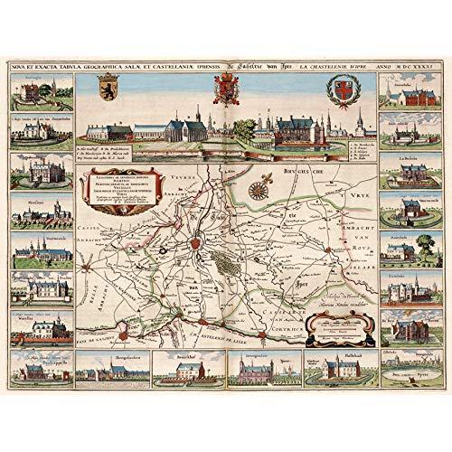 Wee Blue Coo Kaart Antiek Ieper België Nederland Stad Plan Surround Art Grote Ingelijste Print
