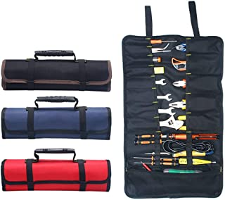 Hense Large Wrench Roll Up Tool Roll Pouch Bag Big Tote Carrier Organizer Easy Storage & Portable Best for Craftwork Handymen Repairmen HSZ-15-03, black