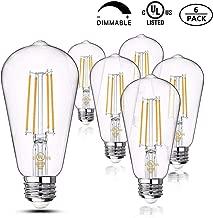 Vintage LED Dimmable ST21 Decorative Lightbulbs Set:6.2-Watt (60-Watt Equivalent)2700-Kelvin, 500-Lumen,Clear Glass,E26 Base, Warm White, 6-Pack