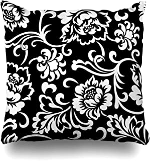 Ahawoso Throw Pillow Cover Motif Pattern Vintage Floral Damask White Black Abstract Foliage Antique Design Zippered Pillowcase Square Size 16 x 16 Inches Home Decor Cushion Case