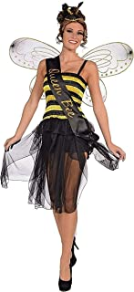 Forum Novelties 70910 Queen Honey Bumble Bee Bug Sash Women's Adult Halloween Costume Accessory, One Size, Black, Pack of 1