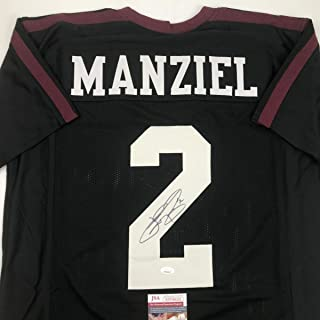 Autographed/Signed Johnny Manziel Texas A&M Black College Football Jersey JSA COA