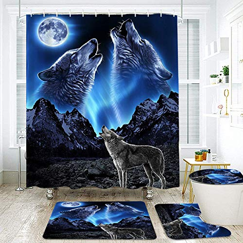 KGSPK Shower Curtain Sets Non-Slip Rug,Toilet Lid Cover and Bath Mat,Wolf Wolves Howling to The Moon in The Mountain secenery,Waterproof Bathroom Decorations Bath Curtains 12 Hooks Included