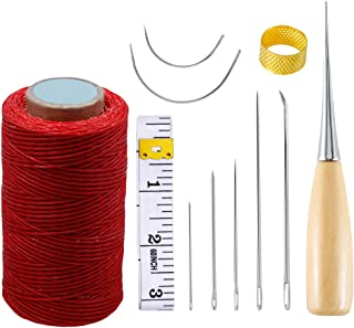 Jupean Leather Hand Sewing Needles with Leather Waxed Thread,Leather Craft Tool, Curved Upholstery Thread Plus Heavy Duty Hand Needles Leather Sewing Waxed Thread Cord for Leather Craft DIY