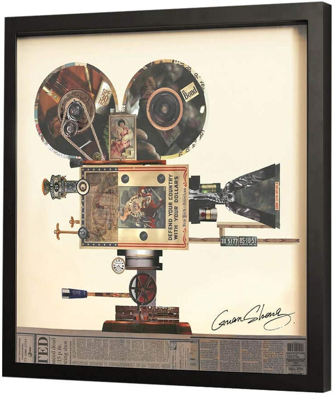 Trendiges KunstLoft Bild Frame Art 3D 'Take One' 61x61cm  Handgefertigte Vintage Wanddeko aus Papier  Kamera Bunt Beige 3D Deko  Design Wandbild Collage Art moderne Kunst Retro im Bilderrahmen