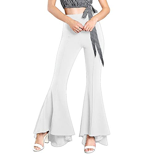 145b4d923359c5 GUOLEZEEV Women Ruffle Bell Bottoms Elastic Waist Solid Fit and Flare Pant  Slim Fit Trouser