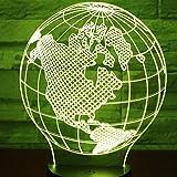AOXULIU Luz de noche Patrón De Mapa De Luz Nocturna Led 3D Luz De 7 Colores Para La Decoración Del Hogar Lámpara Ilusión Óptica Base Blanca Agrietada
