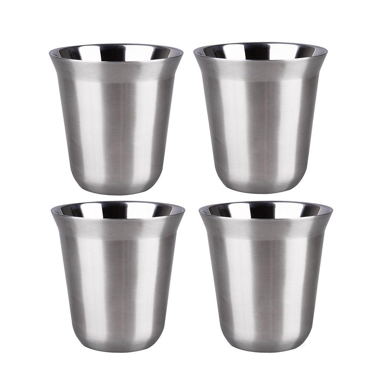 埋めるしてはいけません従順なIMEEA グラス コップ SUS304ステンレス 170ml お酒グラス 日本酒グラス シルバー コップセット 4個1組