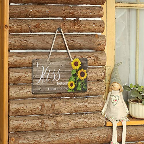 Sunflower Kitchen Decor I Kiss Better Than I Cook Sign Welcome Sunflower Front Porch Door Decor Wall Plaque House Like Wood Sign Home Decor Hanging