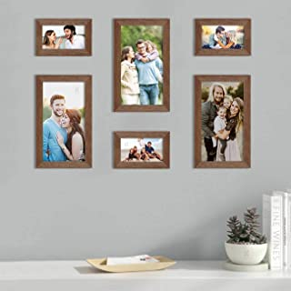 Art Street Set of 6 Brown Wall Photo Frame, Picture Frame for Home Decor with Free Hanging Accessories (Size - 4x6, 6x10 I...