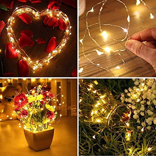 Shatchi 2m Long 20 Warm White LED Micro Rice Gold Copper Wire Indoor Battery Operated Firefly String Fairy Lights Bunch Wedding Party Christmas Decorations Home Bedroom Décor