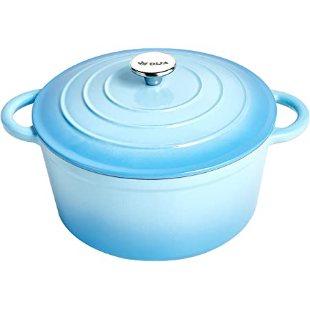 DIJA Enameled Cast Iron Dutch Oven 7 Quart, Nonstick Round Dutch Oven Pot with Lid, Side Handles and Mat for Home Baking, Braiser, Cooking (Blue)