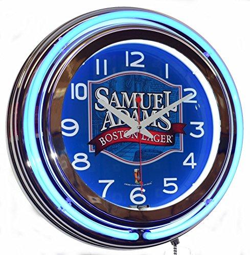 Samuel Adams Boston Lager Beer Logo Blue Double Neon Advertising Clock
