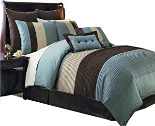 sheetsnthings Aqua Blue Hudson Luxury 8-Piece, King Size Comforter Set
