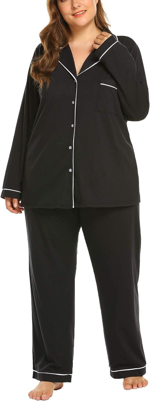 IN'VOLAND Women's Plus Size Pajamas Set Long Sleeve Sleepwear Button Down Night Shirt Soft Pjs Lounge Sets16W-28W
