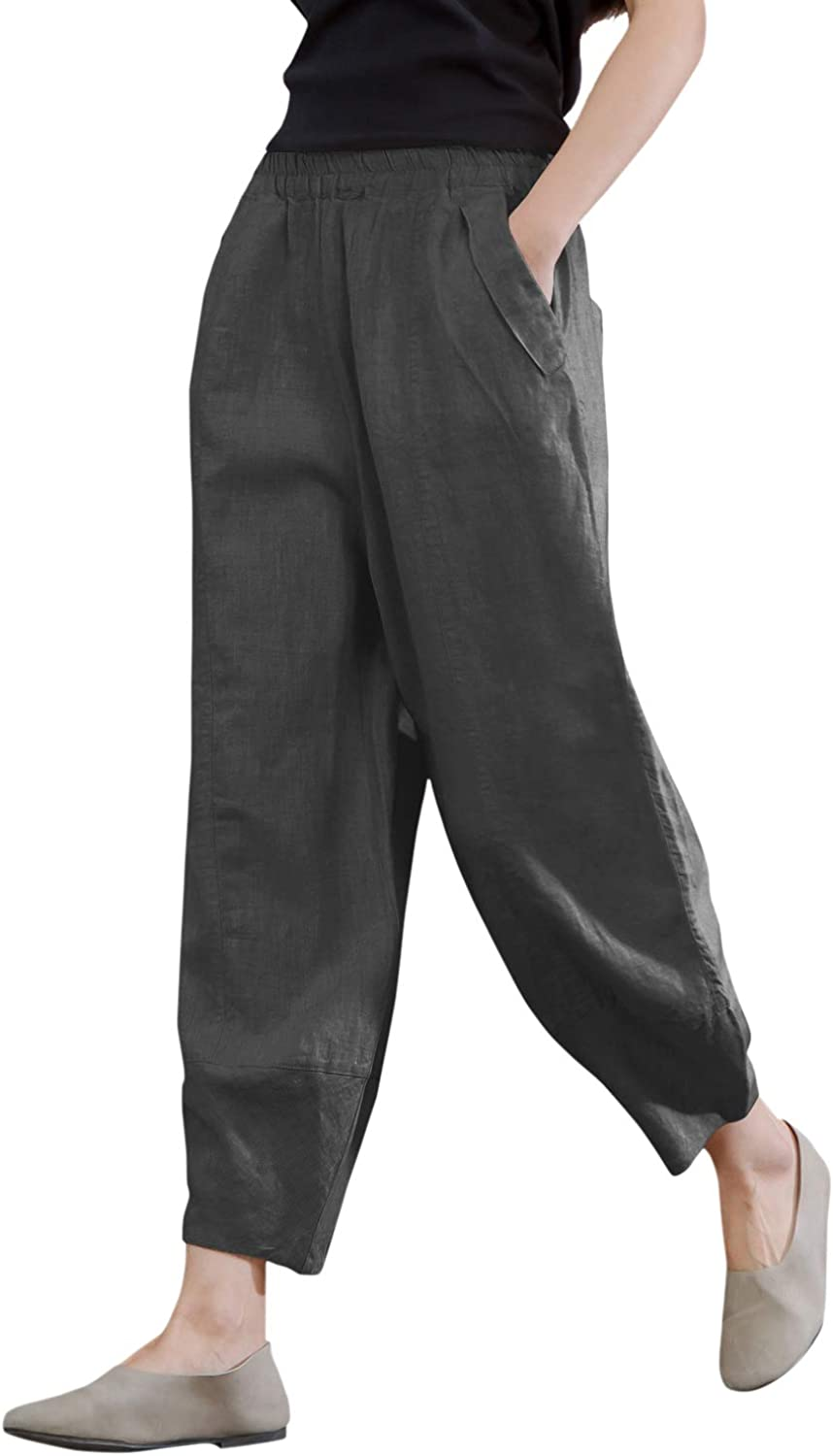 IXIMO Women's 100% Industry No. 1 Linen store Pants Fit Relax Cropped Lantern Tapered